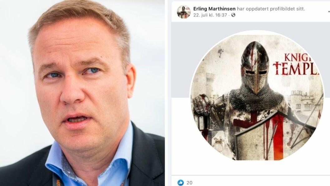 En Resett-journalist har endret profilbildet sitt til et bilde av det påståtte nettverket Knights Templar, som Anders Behring Breivik hevdet å være en del av. Resett-redaktør Helge Lurås sier det hele dreier seg om en misforståelse.