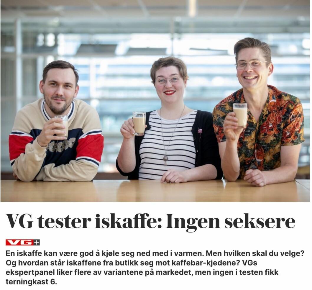 Dommerpanelet som har smakt på kaffen. (f.v) Dennis Vareide, Lise Rømo og Anton Söderman.