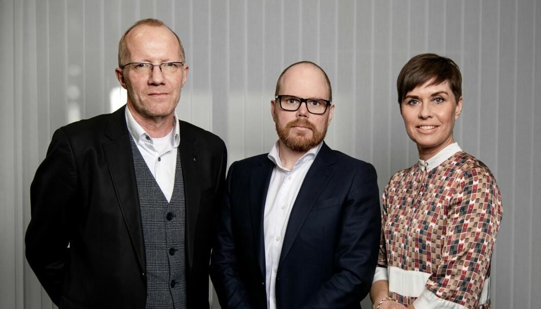 Norsk Redaktørforenings generalsekretær, Arne Jensen, VGs ansvarlige redaktør Gard Steiro og advokat i Norsk Journalistlag, Ina Lindahl Nyrud.