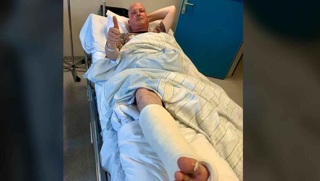Lørdagen endte med sykehusbesøk for tidligere NTB-sportsjournalist Steinar Bjerkmann, etter at han havnet i en ulykke som kunne kostet ham livet denne helgen.