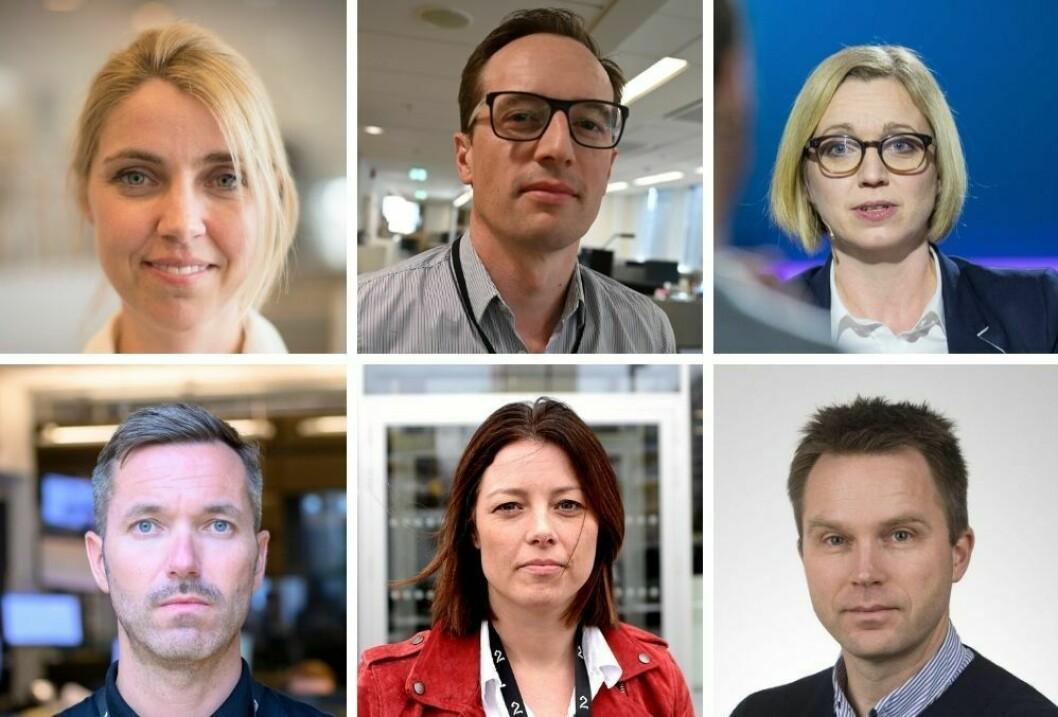 Alexandra Beverfjord (Dagbladet), Morten Andersen (Aftenposten), Sarah Sørheim (NTB), Marius Tetlie (NRK), Sarah Willand (TV 2) og Andreas Arnseth (VG) oppdaterer om status i de ulike redaksjonene nå som smitten blusser opp.