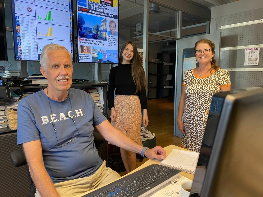 Redaktør Jarle Bentzen, journalist og konstituert nettsjef Karina Rydningen Torberntsson og nyhetsredaktør Anne Sterri Harestad.