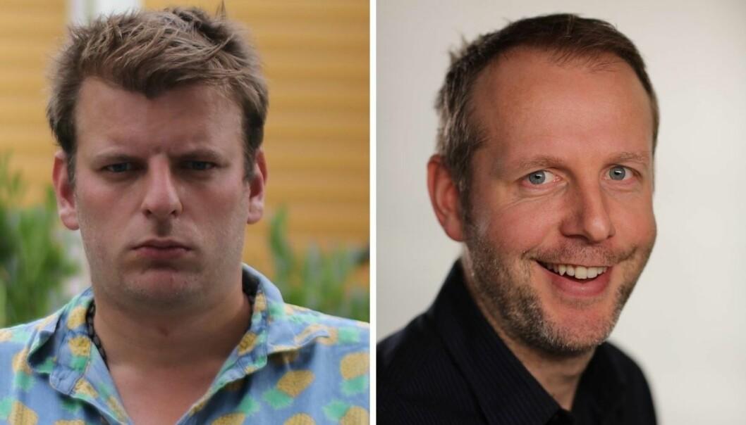 Klassekampen-journalist Martin Årseth og TV 2 Sportens Eystein Thue.