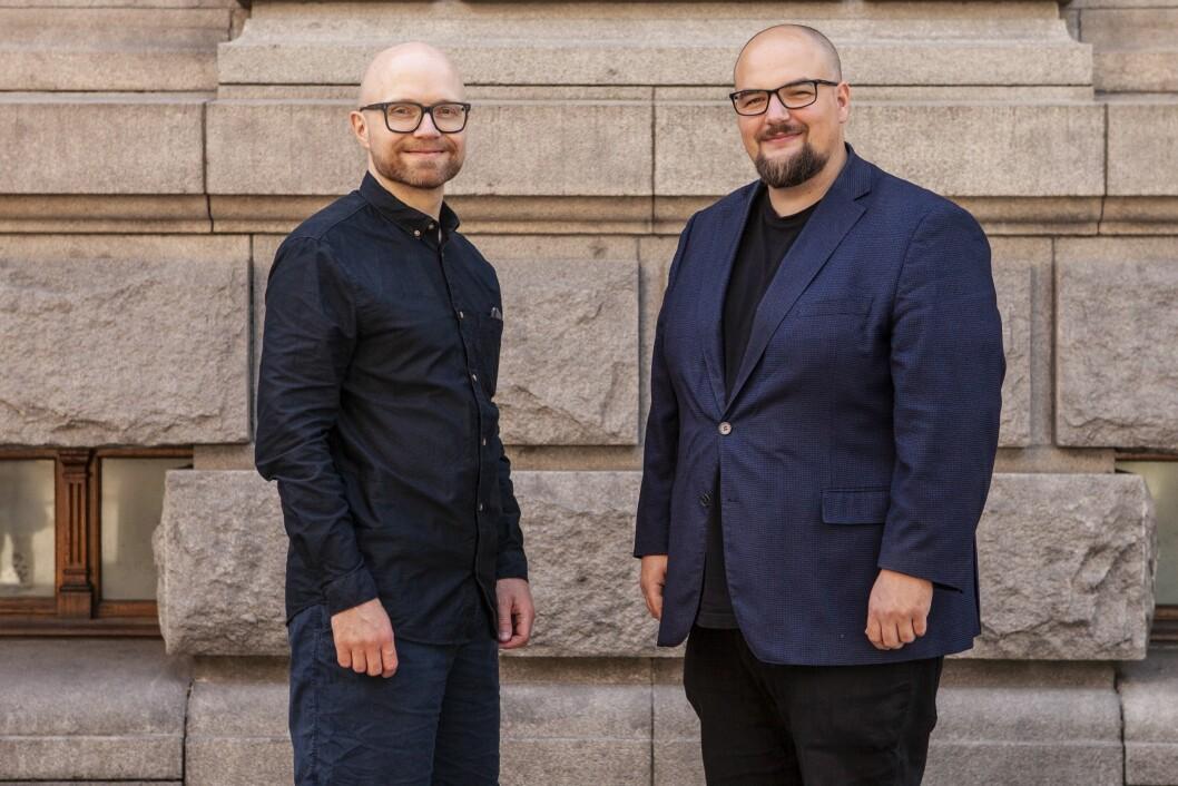 Jan Magnus Weiberg-Aurdal blir ny vaktsjef i Medier24. Til høyre: Ansvarlig redaktør Erik Waatland.