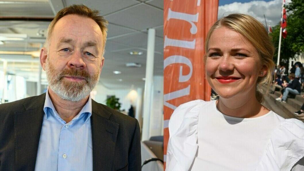 Sjefredaktør Amund Djuve i Dagens Næringsliv og sjef Guro Lindebjerg i Retriever Norge.
