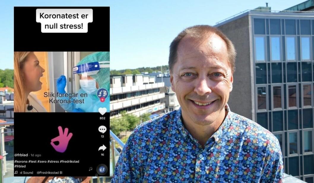 Sjefredaktør René Svendsen og Fredriksstad Blad opplever stor suksess med sin første video i den populære appen TikTok.
