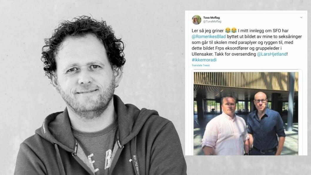 En teknisk svikt førte til en komisk tabbe hos Romerikes Blad. Nyhetssjef Jon Theodor Hauger-Dalsgard tar episoden med godt humør.