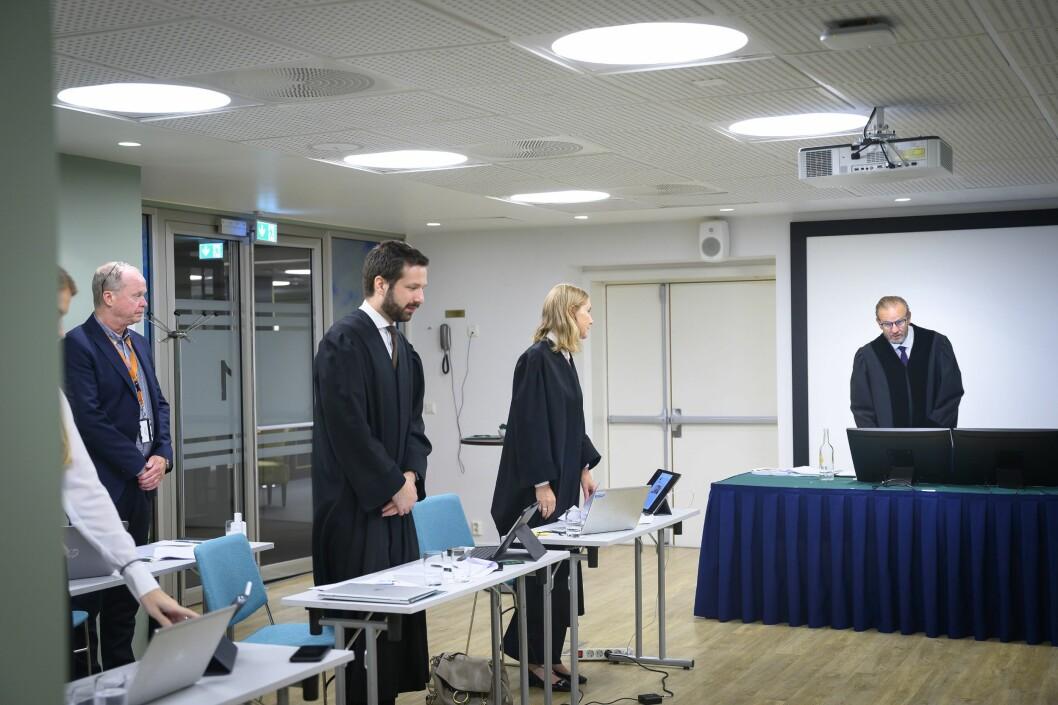 Rettssaken mellom Dagens Næringsliv og medieovervåkningstjenesten Retriever. Her fra Oslo tingrett 20. august 2020.