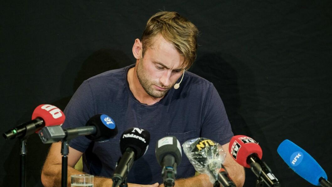 Et stort presseoppbud møtte Petter Northug på fredagens pressekonferanse i Trondheim.