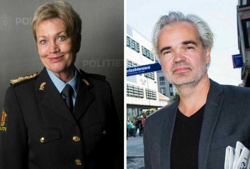 Politimester Kirsten Lindeberg i Agder politidistrikt og  Redaktør Eivind Ljøstad i Fædrelandsvennen.