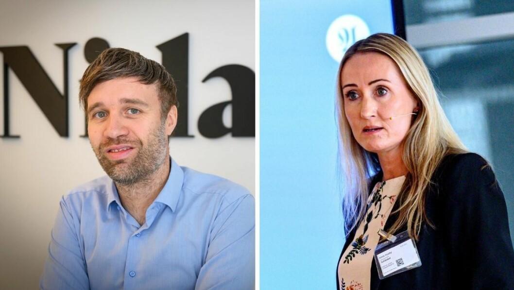 Nidaros-redaktør Arne Reginiussen og Adresseavisens sjefredaktør Kirsti Husby .