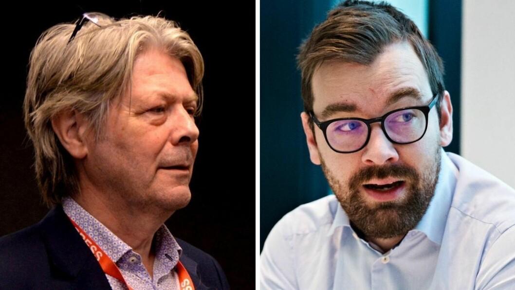 Nettavisens Erik Stephansen og Bergens Tidenes kommentator Morten Myksvoll.