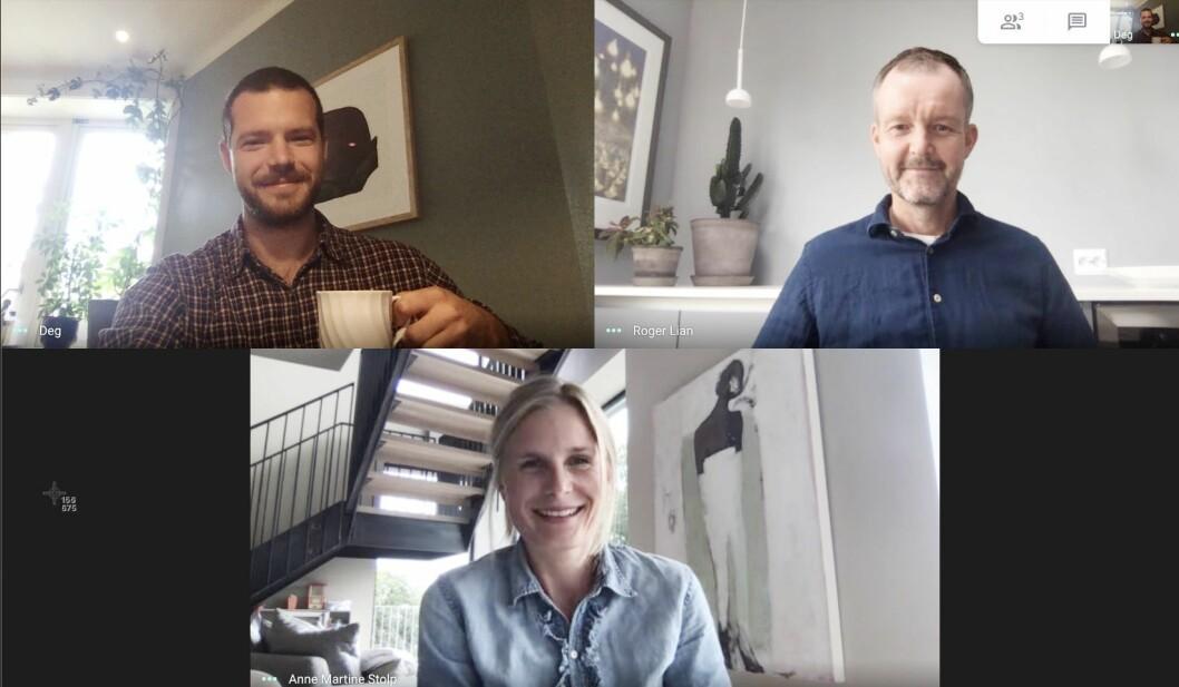 Posjektgruppen bestående av Roger Lian, Marcus Tøstie og Martine Stolp har skapt Schibsted Akademi fra hvert sitt hjemmekontor.
