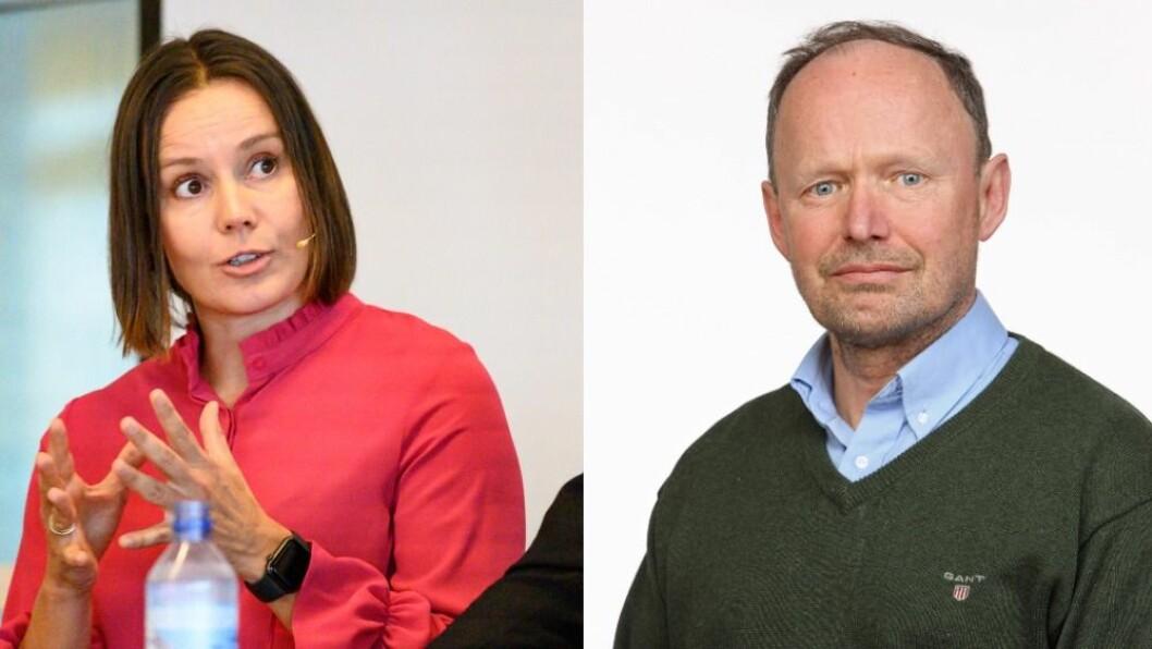 Administrerende direktør Nina Vesterby i Egmont Publishing og klubbleder Alexander Berg for de NJ-organiserte i Egmont.