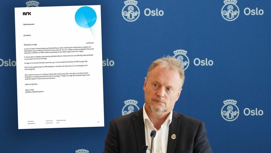 Byrådsleder Raymond Johansen. Innfelt: Brevet fra NRK.