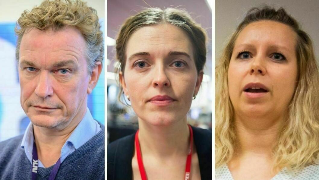 Redaktør i NRK Direkte, Espen Olsen Langfeldt, VGs nyhetsredaktør Tora Bakke Håndlykken og nyhetsleder i Nettavisen, Carina Alice Bredesen.
