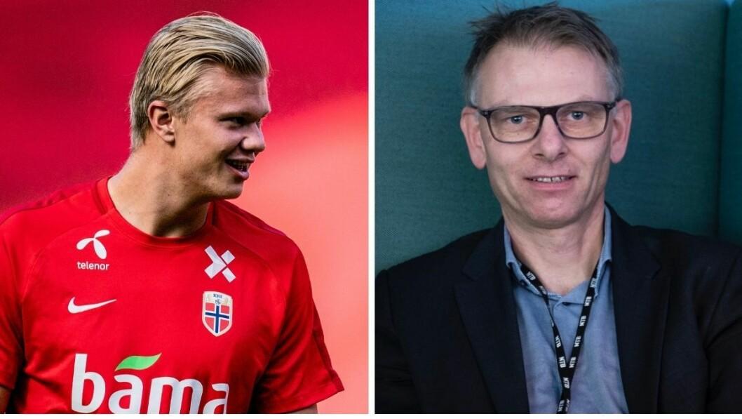 Sportsleder i NTB, Ole Kristian Bjellaanes (til venstre), kommer ikke til å sende noen journalister for å dekke Erling Braut Haalands og Norges landskamp på mandag.