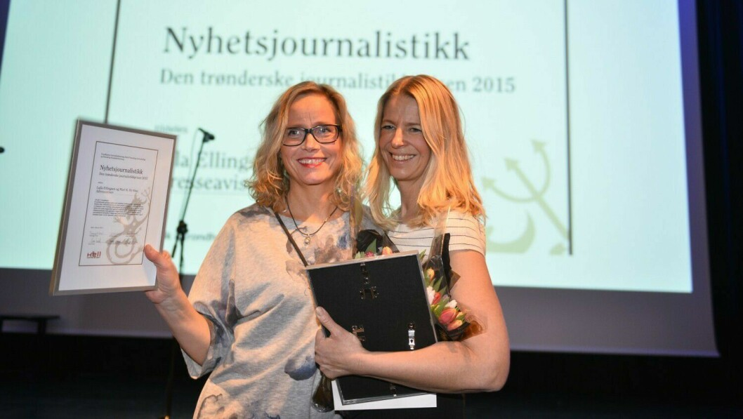Lajla Ellingsen og Mari K. By Rise i Adresseavisen. Her fra da de vant den journalistiske hederprisen i Trøndelag..
