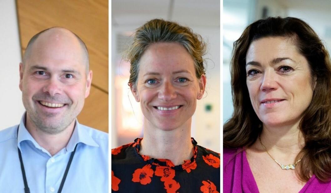 Amedia-konsernsjef Anders Opdahl, NHST-sjef Hege Yli Melhus Ask og Kristin Skogen Lund, konsernsjef i Schibsted.