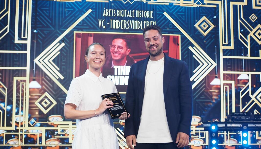 VG - her ved Natalie Remøe Hansen og Kristoffer Kumar - vant årets digitale historie for Tindersvindleren i fjor.