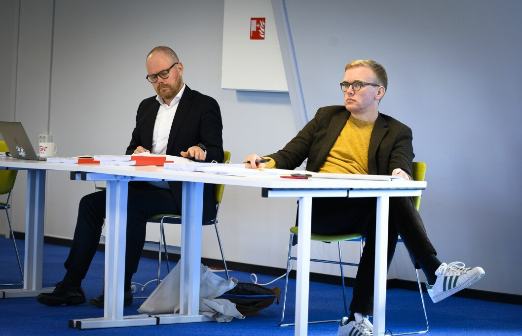 VG-redaktør Gard Steiro (til venstre) og journalist Markus Tobiassen i retten.