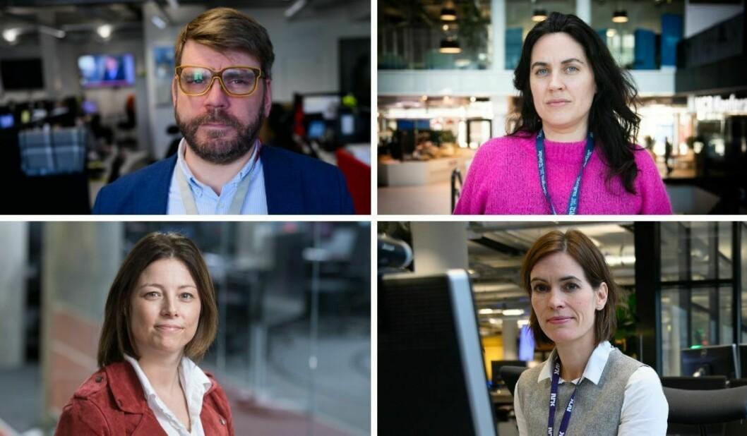 Sigvald Sveinbjørnsson (BA), Frøy Gudbrandsen (BT), Sarah Willand (TV 2) og Dyveke Buanes (NRK Vestland) gjør alle koronagrep for redaksjonene i Bergen.