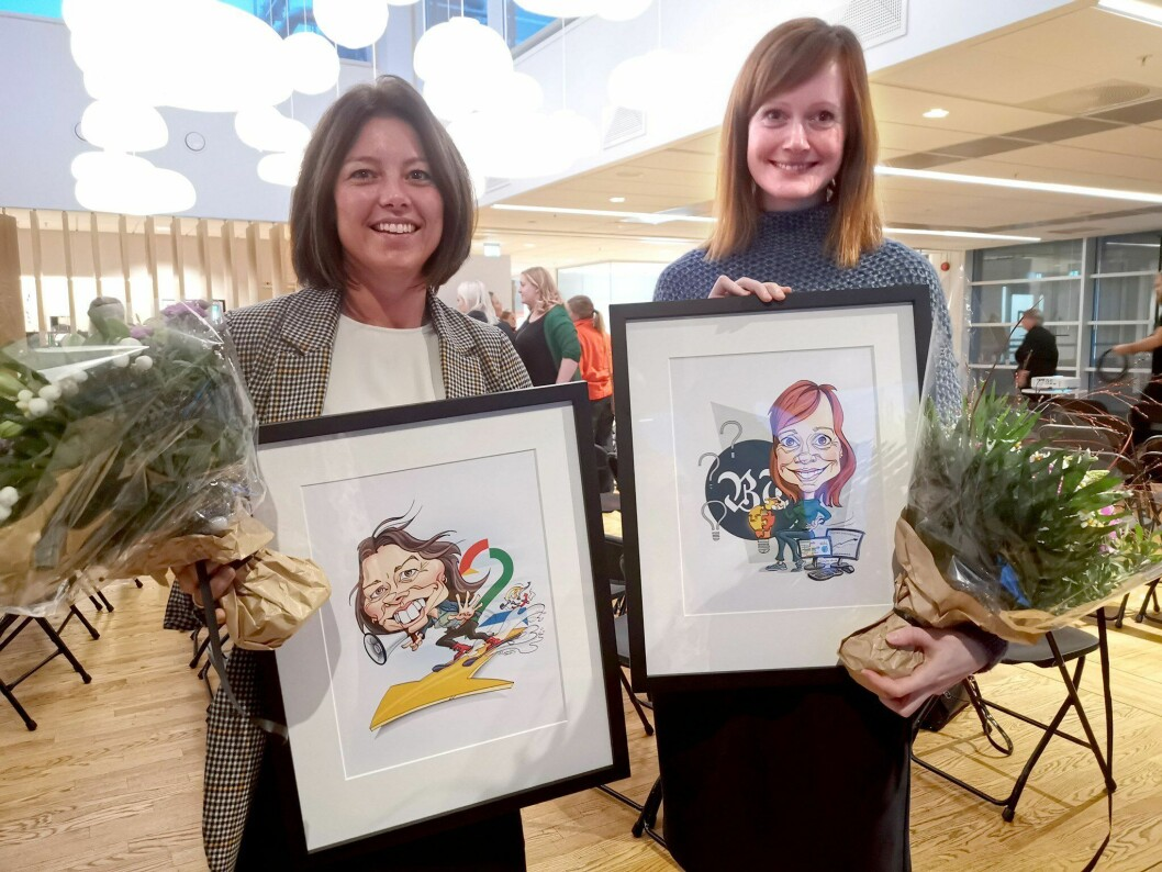 Fjorårets vinnere av Medienettverkets priser, Sarah Willand og Grethe Wiig Samdal.