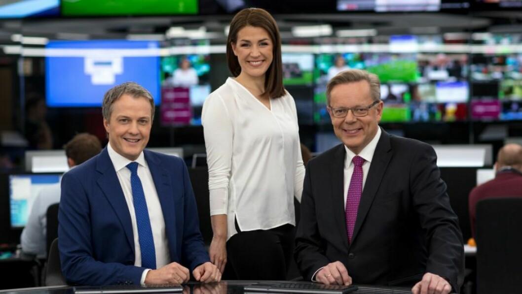Sturla Dyregrov (fra venstre), Siri Kleiven Strøm og Arill Riise er blant nyhetsankerne på TV 2 og TV 2 Nyhetskanalen.