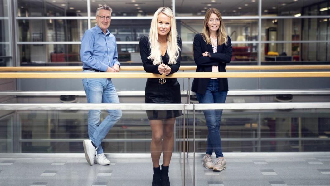 Innholdssjef Svein Arne Haavik i Schibsted Partnerstudio sammen med innholdsprodusent Aleksandra Cybulska (midten) og nyansatt innholdsleder Mette Karlsrud Stene.