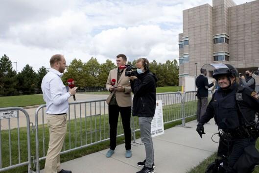 VG i Cleveland: Fra venstre reporter Jostein Matre, reporter Stig Øystein Schmidt og videojournalist og produsent Patrik Eian Fjeldstad.
