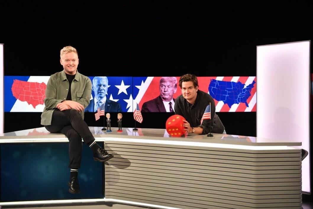Studioanker Espen Moe Breivik og reporter Matteus Ketner styrer VGTV sin dekning av USA-valget fra Oslo.