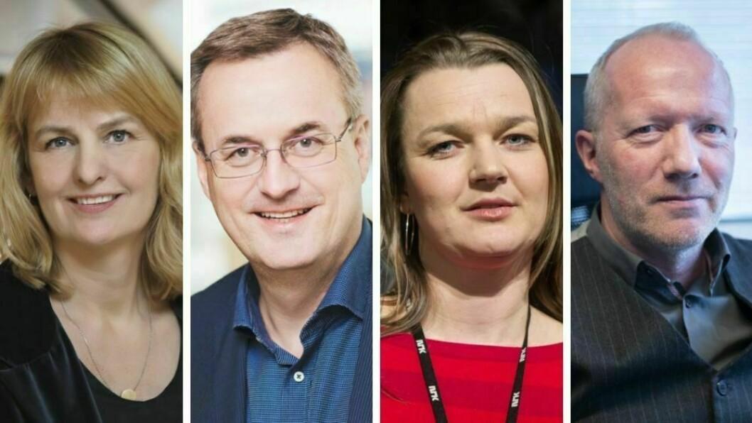 Randi S. Øgrey, Per Brikt, Hege Iren Frantzen og  Arne Jensen er alle ledere i landets største presseorganisasjoner.