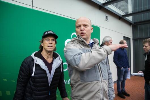 Jan Bøhler og Sp-leder Trygve Slagsvold under pressekonferansen i regi av Oslo Sp, på Grorud flerbrukshus.