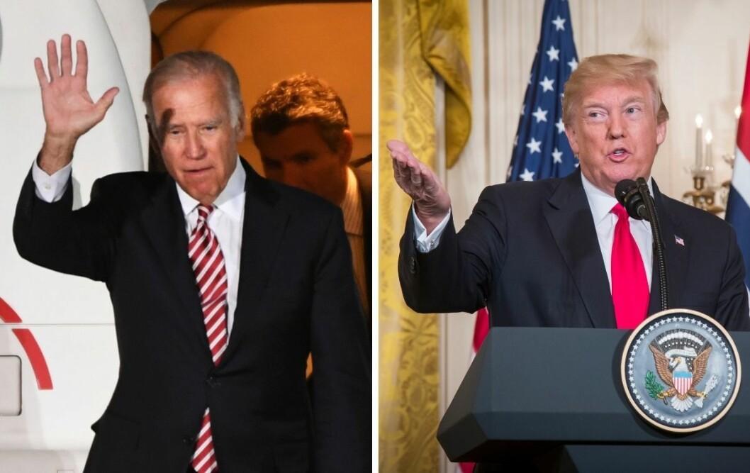 Joe Biden (til venstre) skal om to uker ut i valgduell med sittende president Donald Trump.