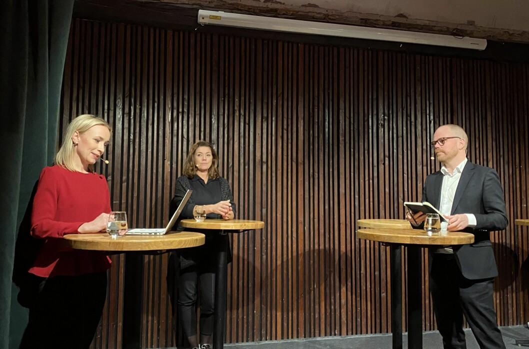 TV 2s Linn Wiik, Schibsted-sjef Kristin Skogen Lund og sjefredaktør Gard Steiro i VG. Her under debatt 14. oktober om Tangen-saken.