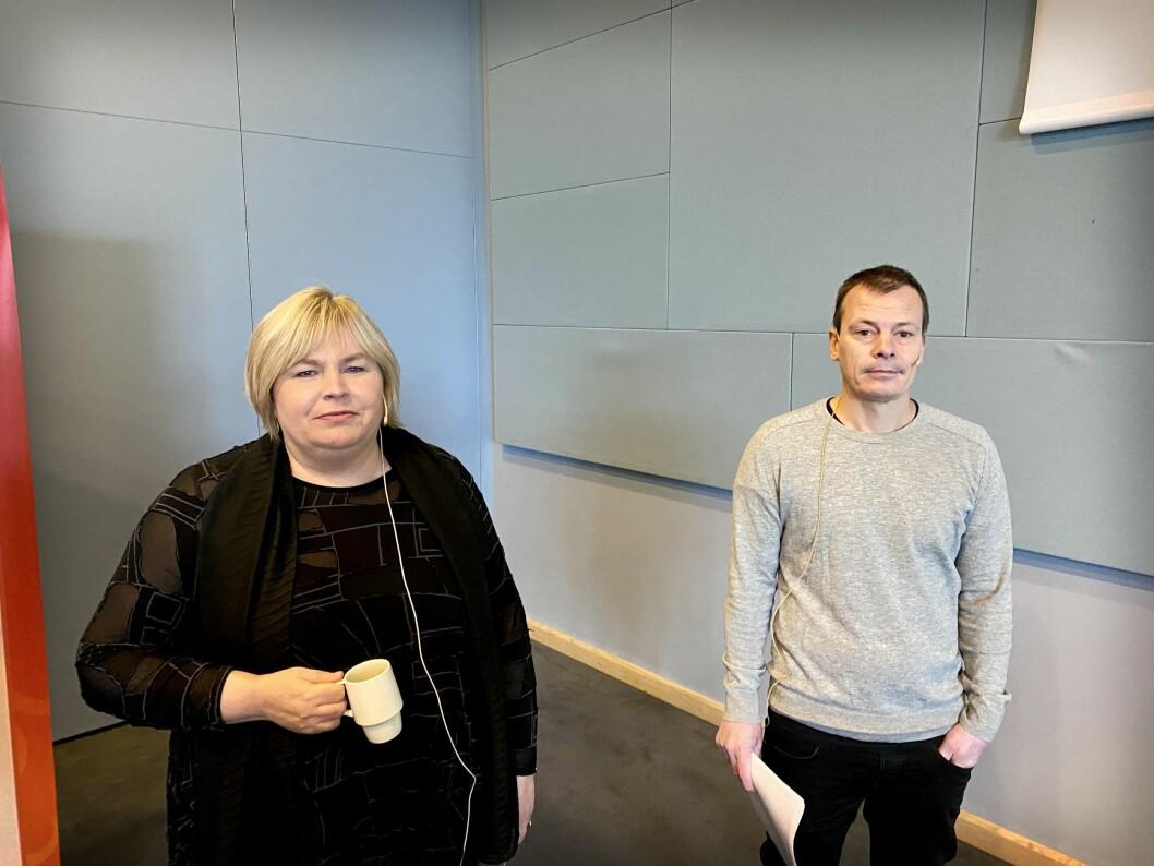 Generalsekretær Elin Floberghagen i Norsk Presseforbund og redaktør Håvard Melnæs i Josimar. Her under PUFF-konferansen 15. oktober 2020.