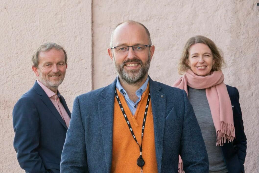 Tor Richardsen, prosjektleder NTB Mediebank (fra venstre), Mads Yngve Storvik, sjefredaktør og administrerende direktør NTB, og Christina Dorthellinger Nygaard, leder og redaktør NTB Visuell.