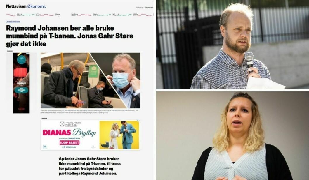 Rødt-politiker Mimir Kristjánsson reagerer på dette Støre-oppslaget hos Nettavisen, mens nyhetsleder Carina Alice Bredesen forsvarer det.