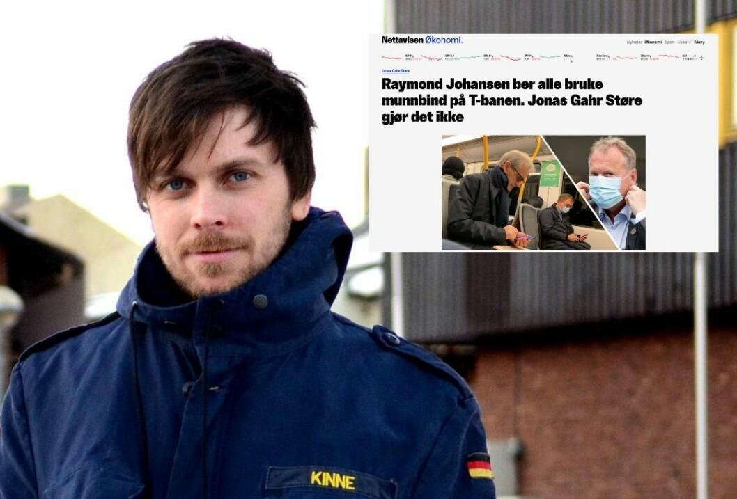Journalist Amund Trellevik er kritisk til Nettavisens sak om Jonas Gahr Støre uten munnbind på t-banen.
