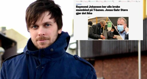 Talentløst fra Nettavisen om Jonas Gahr Støre uten munnbind på t-banen