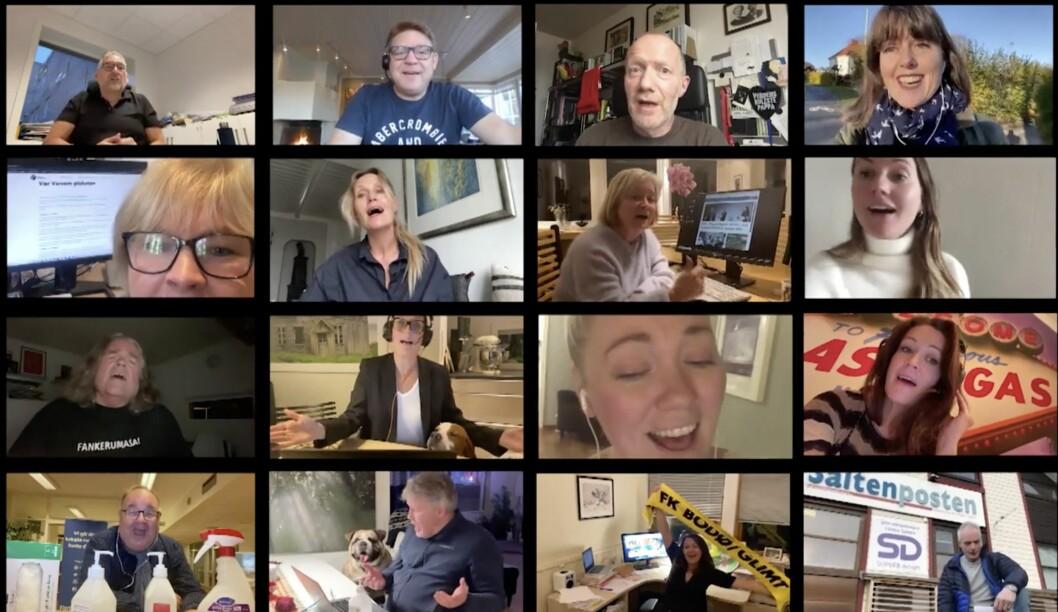 Mange kjente fjes fra mediebransjen deltok i  videoen fra Norsk Redaktørforenings digitale kor, som ble vist på NRs høstmøte onsdag..