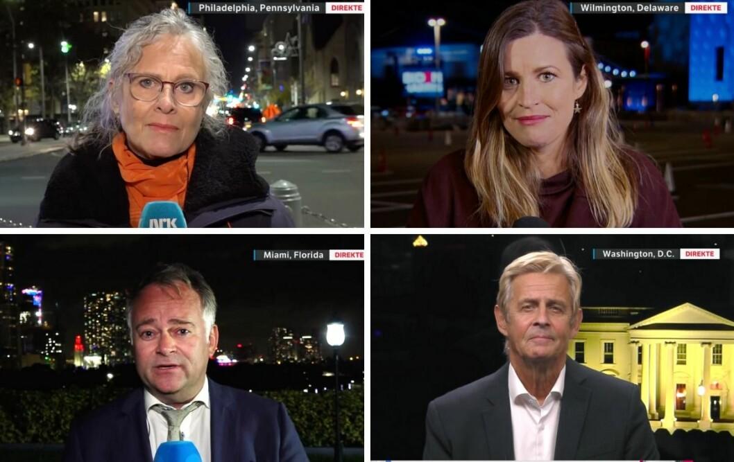 Noen av NRKs korrespondenter i forbindelse med USA-valget. Fra venstre: Gro Holm. Veronica Westhrin, Anders Tvegård og Anders Magnus.