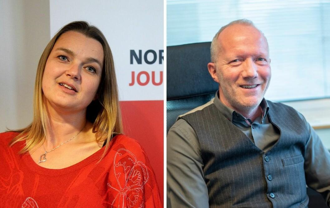Norsk Journalistlags leder Hege Iren Frantzen og generalsekretær i Norsk Redaktørforening, Arne Jensen, ønsker seg begge mer mangfold i den norske mediebransjen.