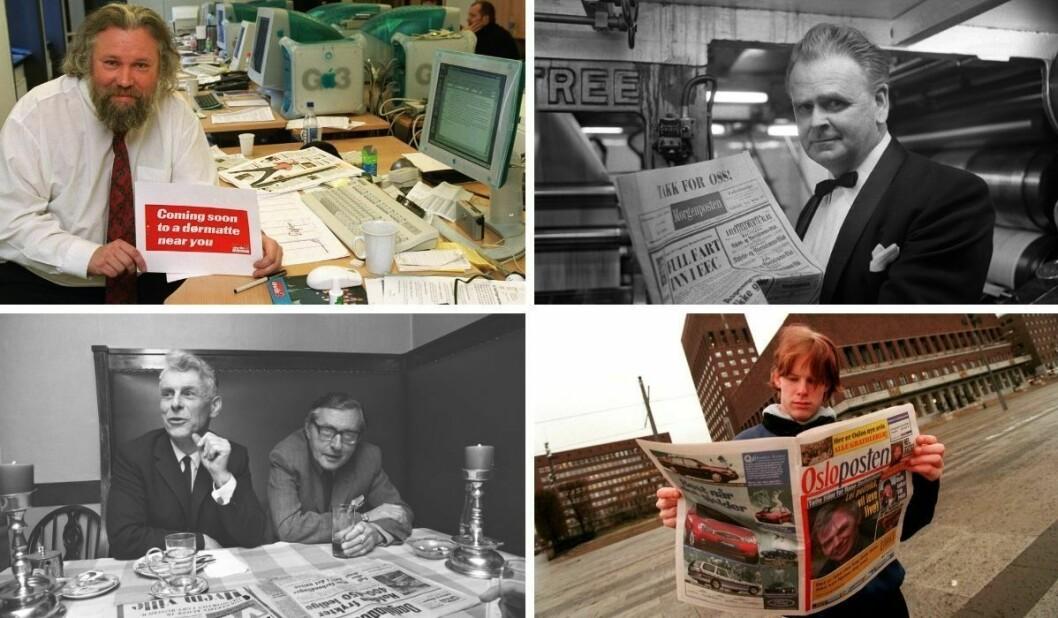 Noen Oslo-aviser fra fordums tid: Sjefredaktør Sverre Amundsen (øverst fra venstre) i daværende Avis 1 i 1999, Morgenposten-redaktør Leif Husebye med avisens siste utgave i 1971, sjefredaktørene Vegard Sletten i VG (t.v.) og Roald Storsletten i Dagbladet og Christian Grønnerød med OsloPosten i 1997.