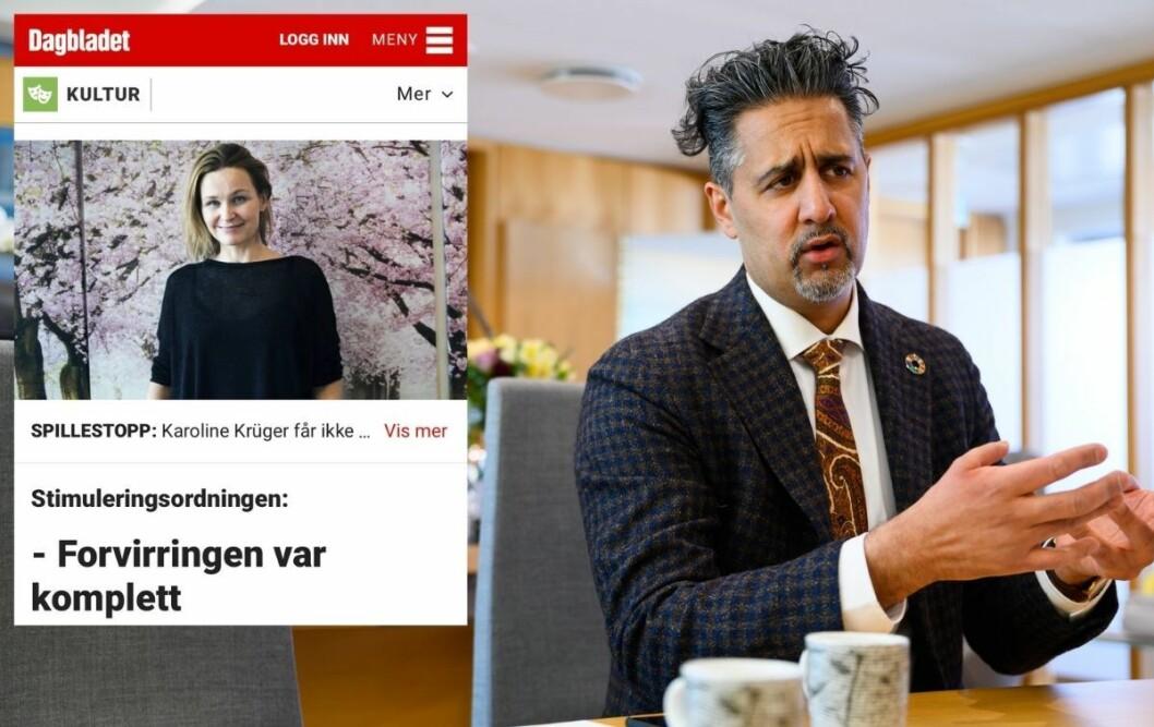 Kulturminister Abid  Q. Raja var ikke fornøyd med at Dagbladet publiserte en sak der han fikk kritikk, uten å ta med hans tilsvar.