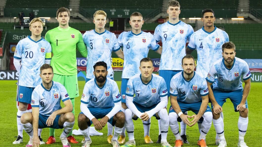 Norges lag før kampen i Nations League mellom Østerrike og Norge.