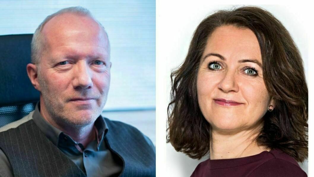 Arne Jensen (til venstre) og Reidun Kjelling Nybø i Norsk Redaktørforening.