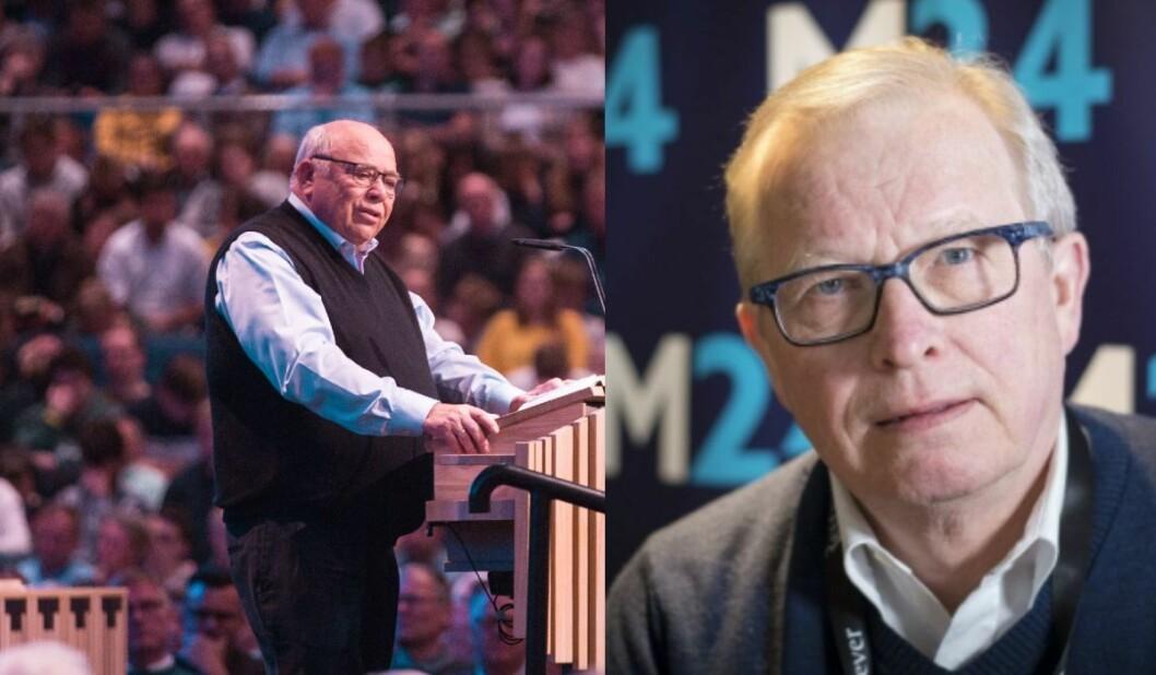 Kåre Johan Smith, åndelig leder i BCC. Her fra en av BCCs egne konferanser og mediekritiker Bernt Olufsen.