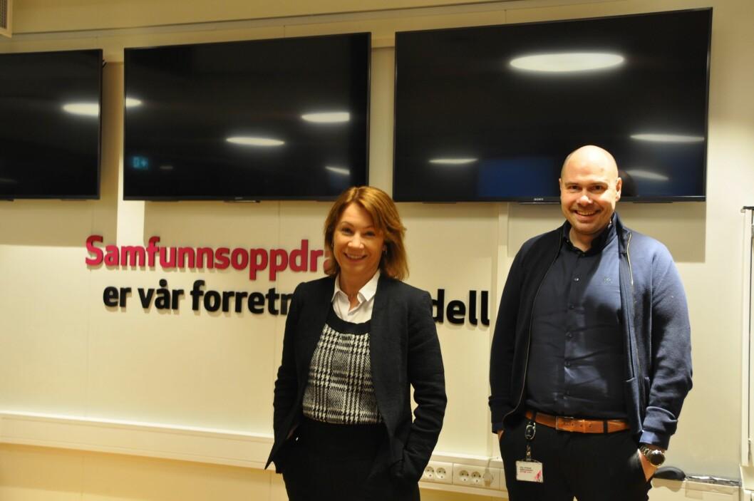 Ansvarlig redaktør og administrerende direktør i Budstikka, Kjersti Sortland og konsernsjef Anders Møller Opdahl i Amedia.