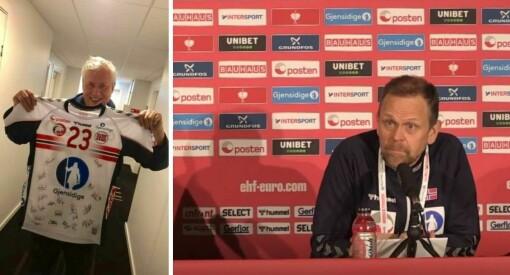 NTB-veteranen Vidar Ruud (65) dekker sitt siste mesterskap - her blir han hedret av landslagssjefen